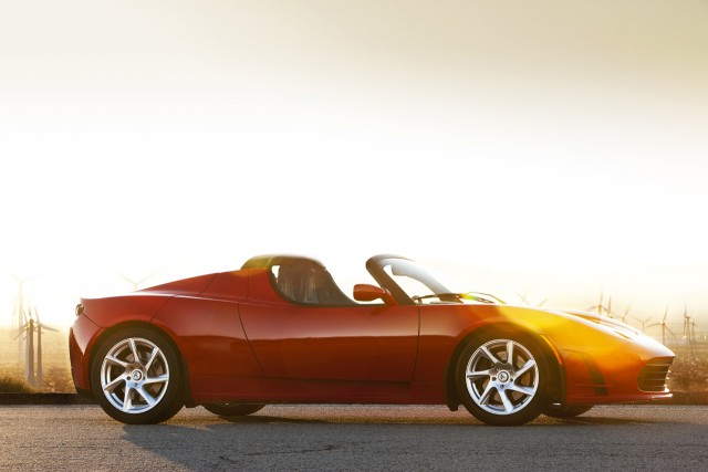 tesla roadster 3 sunset